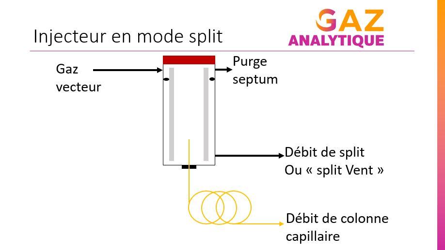 schema de principe injecteur split chromatographie phase gazeuse - gaz analytique